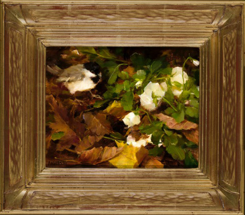"""""""White Pansies with Chickadee"""" - SOLD  8x10 oil 22 Custom karat gold leaf frame. ©Kathy Anderson 2013 ©This image is under strict copyright to the artist and may not be reproduced in any form"""
