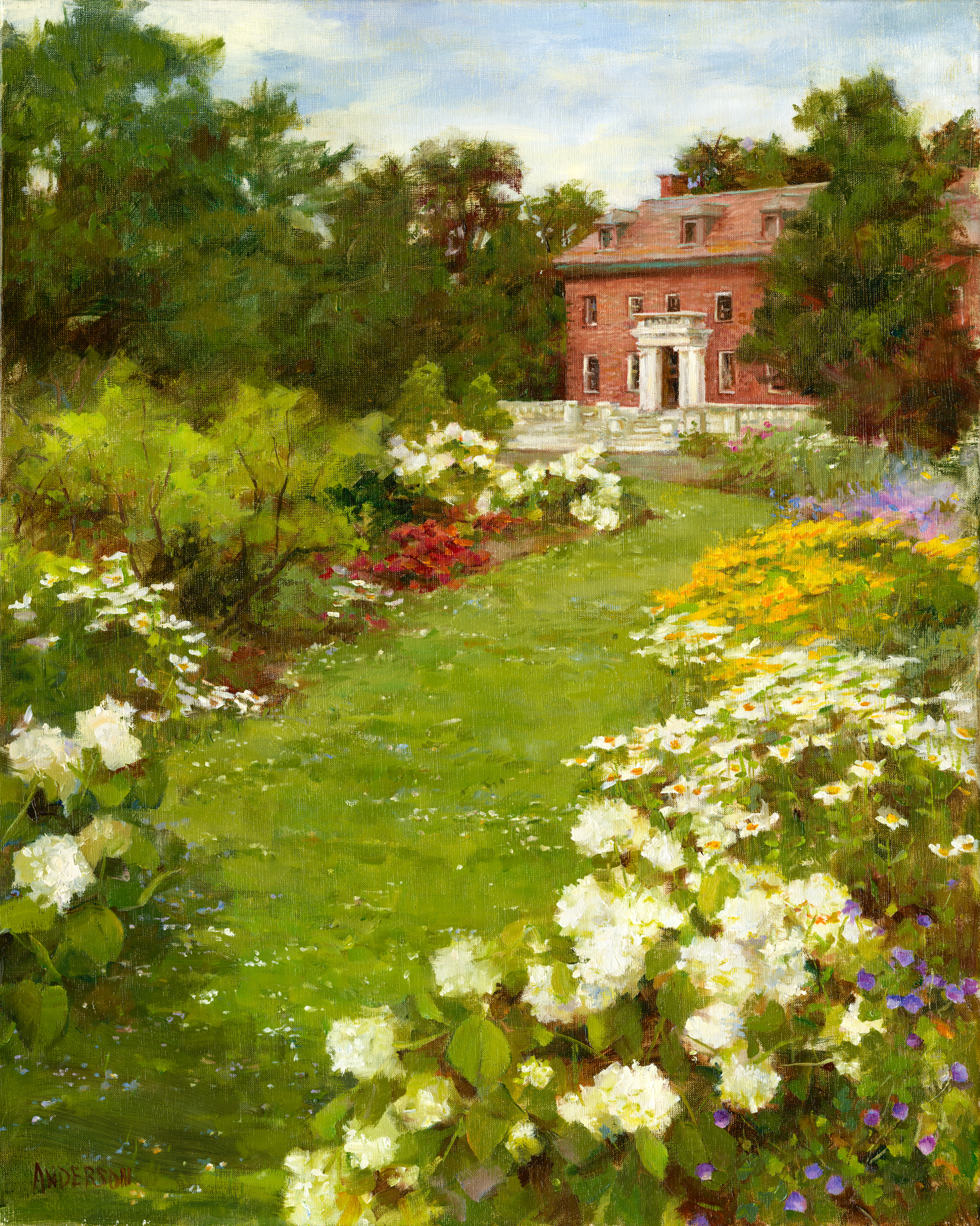 """""""The Manor House and Garden"""" - SOLD  16x20 oil ©Kathy Anderson 2014 The painting will be featured by Elm Bank during a Fundraising event in October 2014."""
