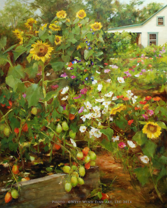 """""""September Garden"""" - SOLD  50x40 oil ©Kathy Anderson 2014 ©This image is under strict copyright to the artist and may not be reproduced in any form"""