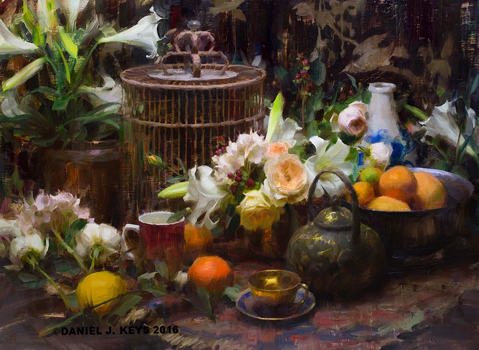 """""""Flowers and Treasures"""" 24"""" x 36"""" oil commissioned painting ©Daniel J. Keys 2017- SOLD"""