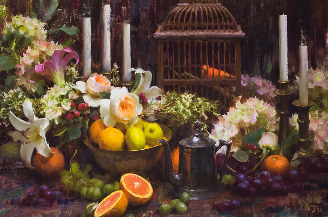 """""""Garden Flowers and Summer Fruit 2018- SOLD  Commissioned oil painting 24"""" x 36""""  ©Daniel J. Keys 2018 ©This image is under strict copyright to the artist and may not be reproduced in any form"""