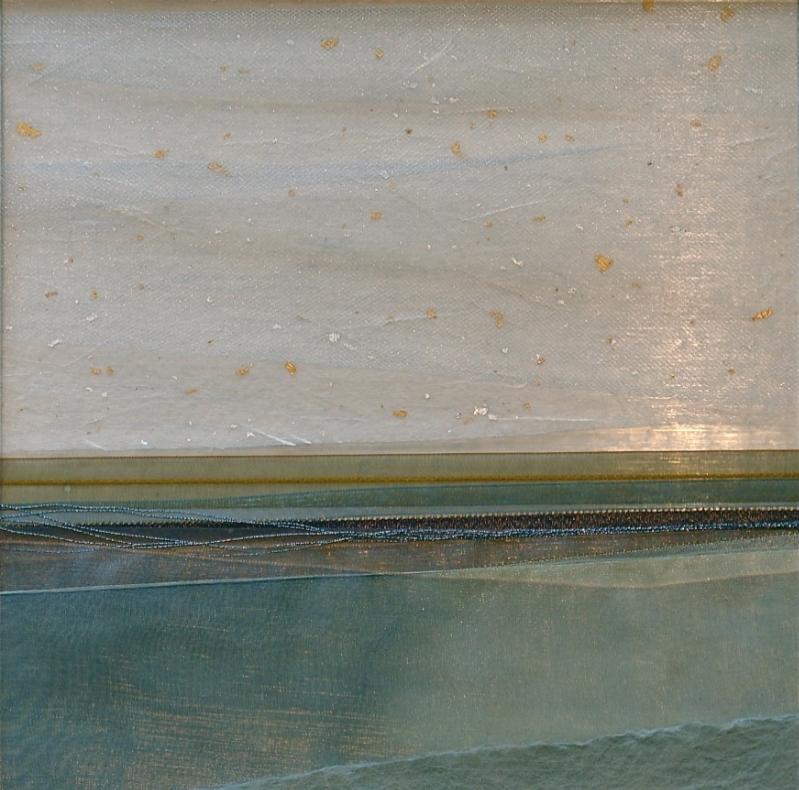 "Coast Series    Warm Waters   19"" Sq.  Paper and Silks  2010"