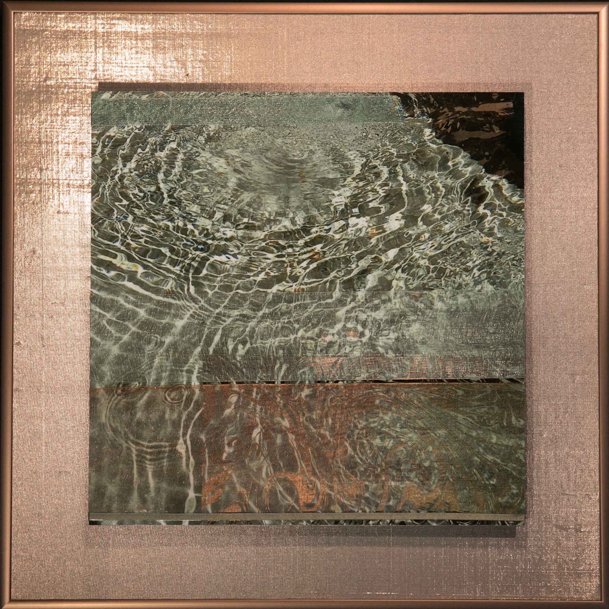"Wavecapes Series    Fluid Light III   14"" Sq.  Metal Print with Silks  2018"