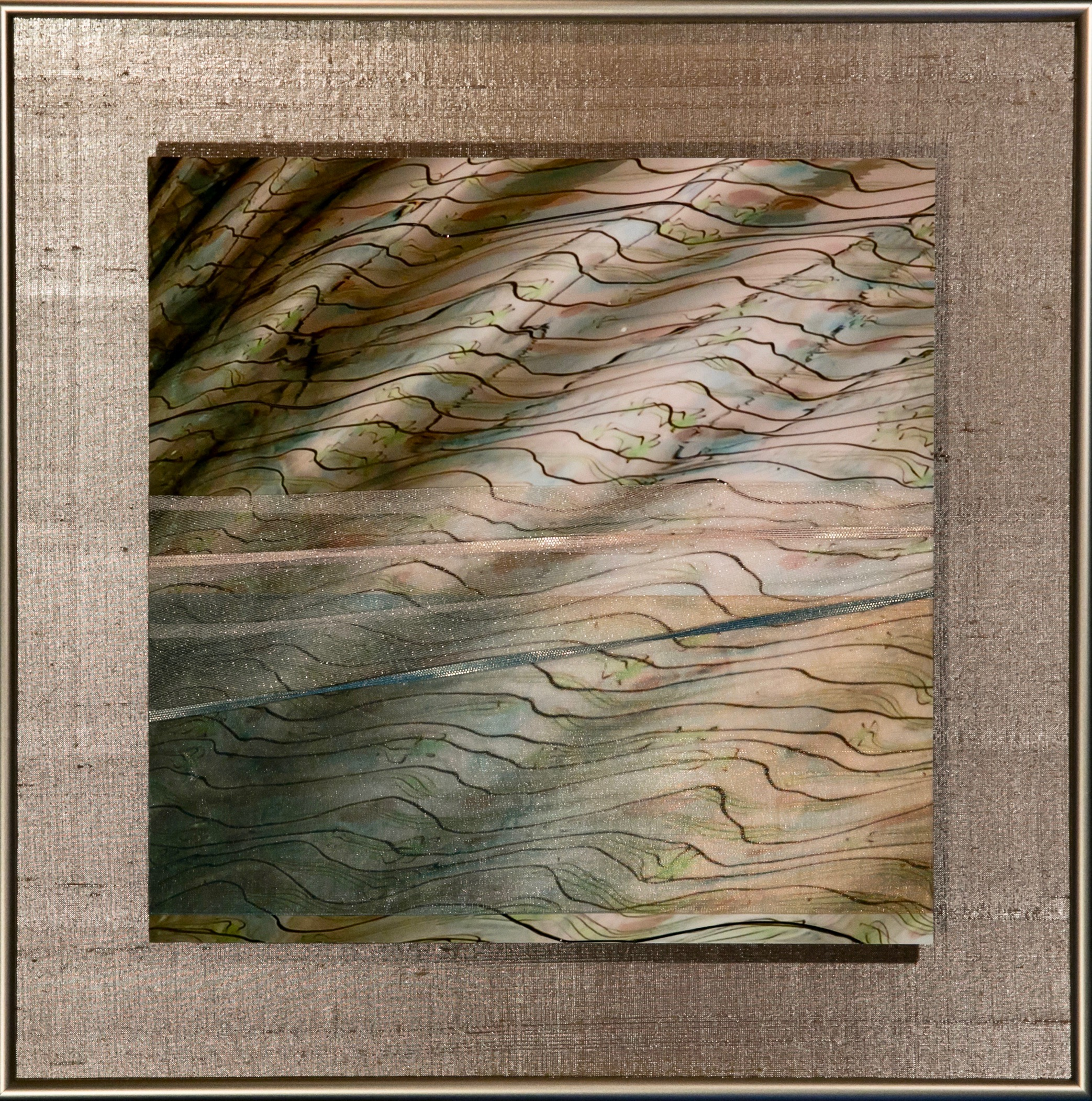 """Wavecapes Series    Sinuous II   14"""" Sq.  Metal Print with Silks  2018"""