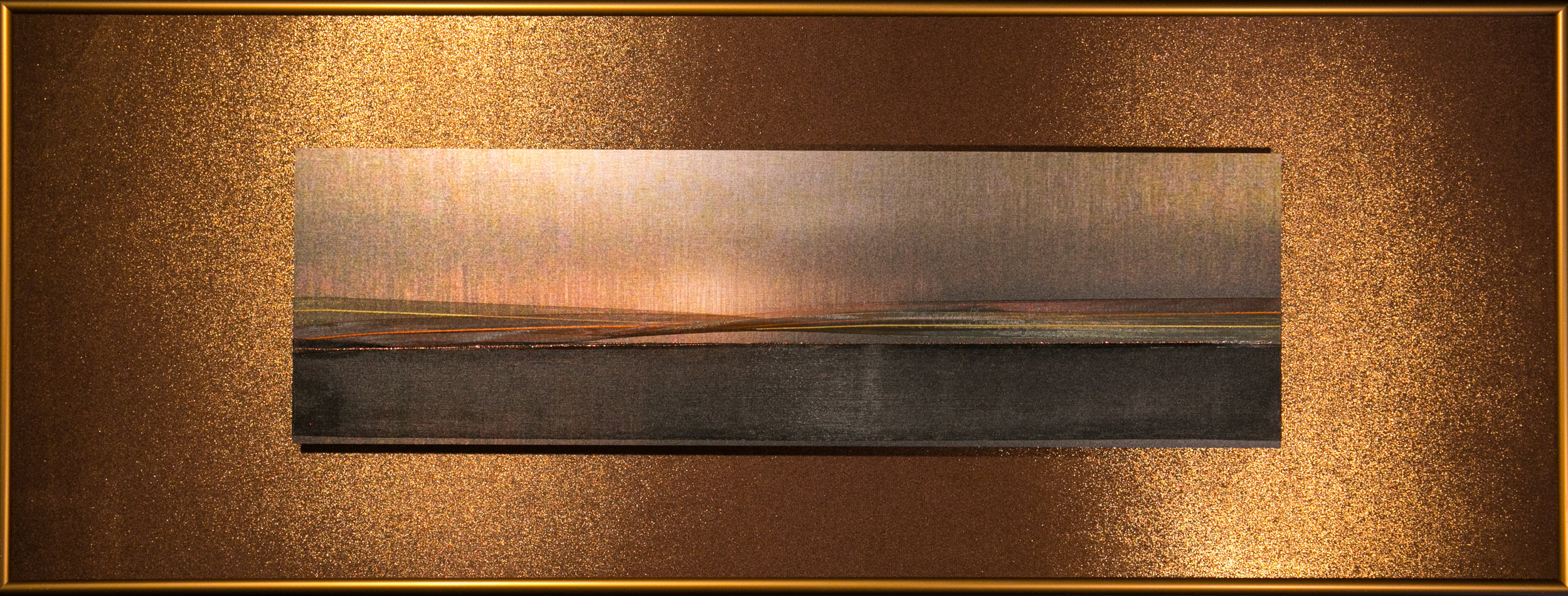"Skyscapes Series    Dusk   12"" x 32""  Brushed Metal Print with Silks  2018"