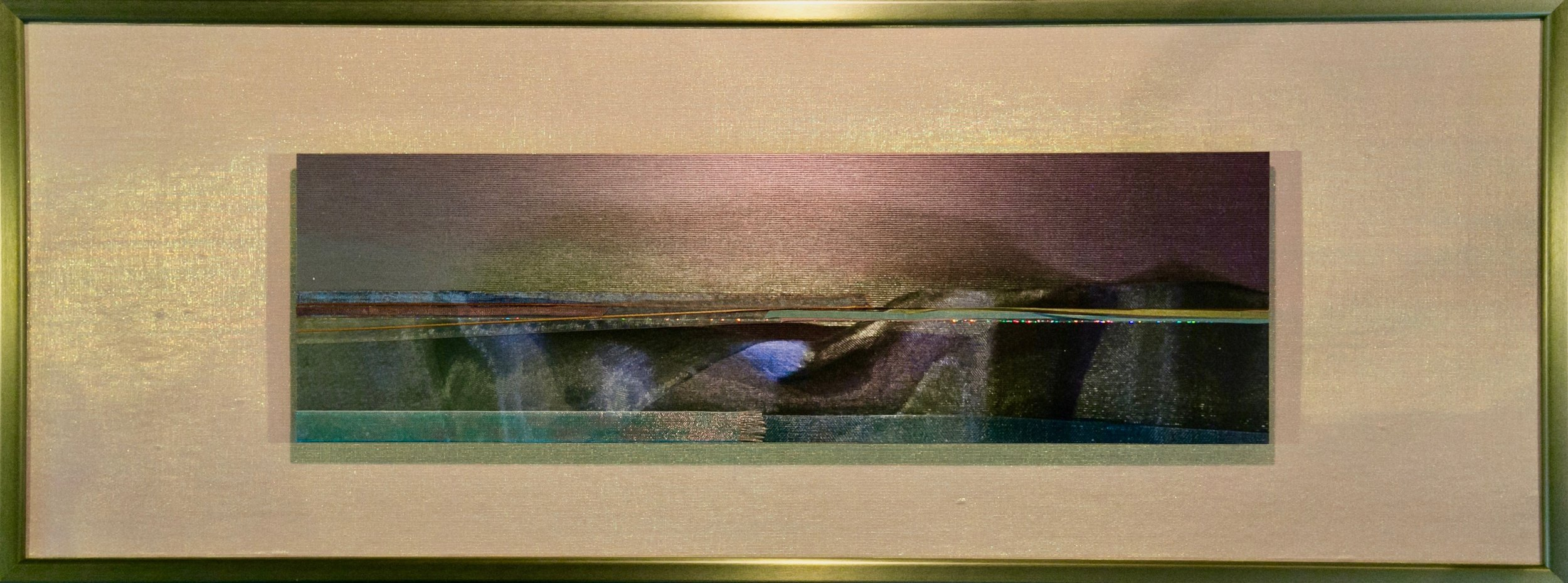 "Skyscapes Series    Opalescent Bliss   12"" x 32""  Brushed Metal Print with Silks  2018"