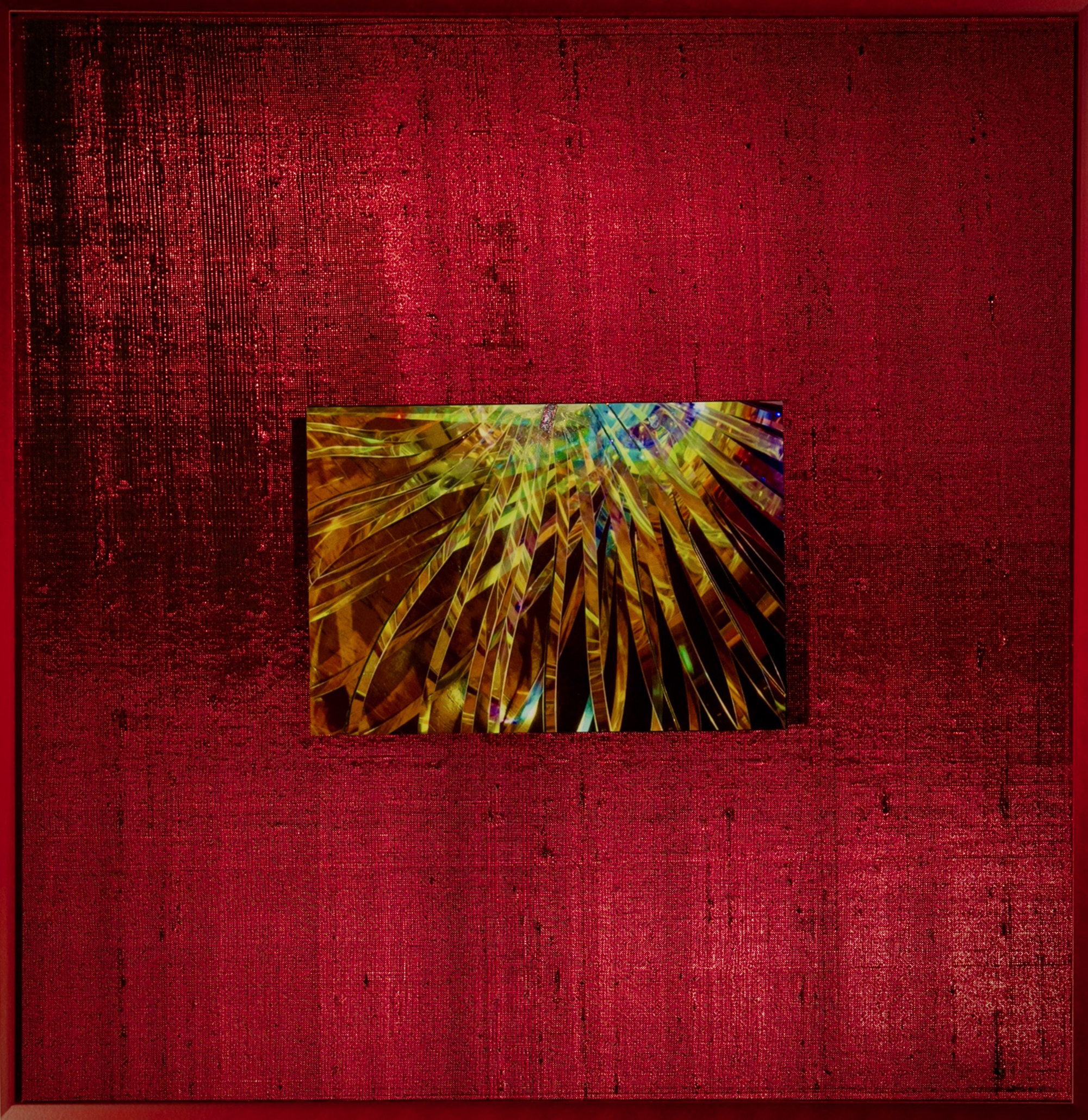 "Chroma Series    Crimson   14"" Sq  Metal Print with Silks  2018"