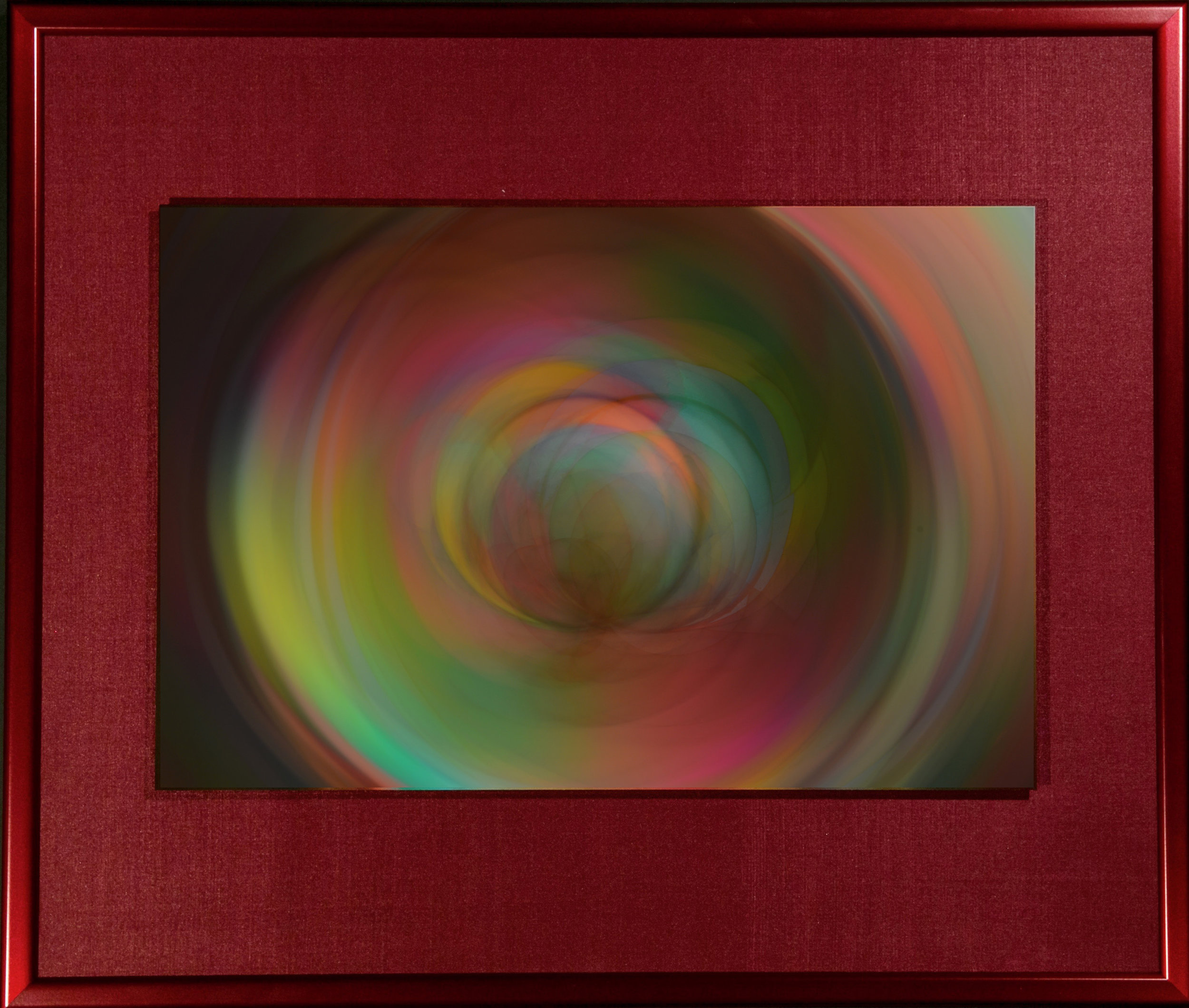 "Polychrome Series    Prismatic Joy II   16"" x 18""  Metal Print with Silks  2018"