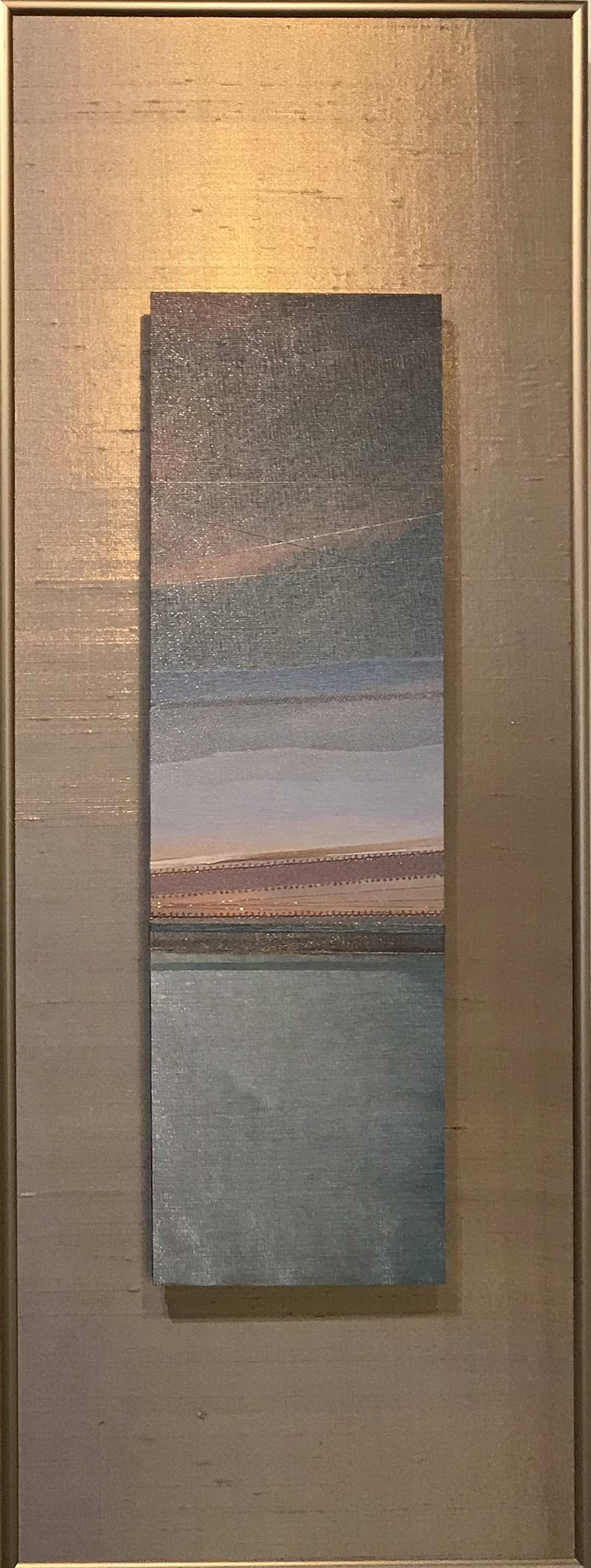 "Landscapes Series    Hazy Ocean   12"" x 32""  Brushed Metal Print with Silks  2018"