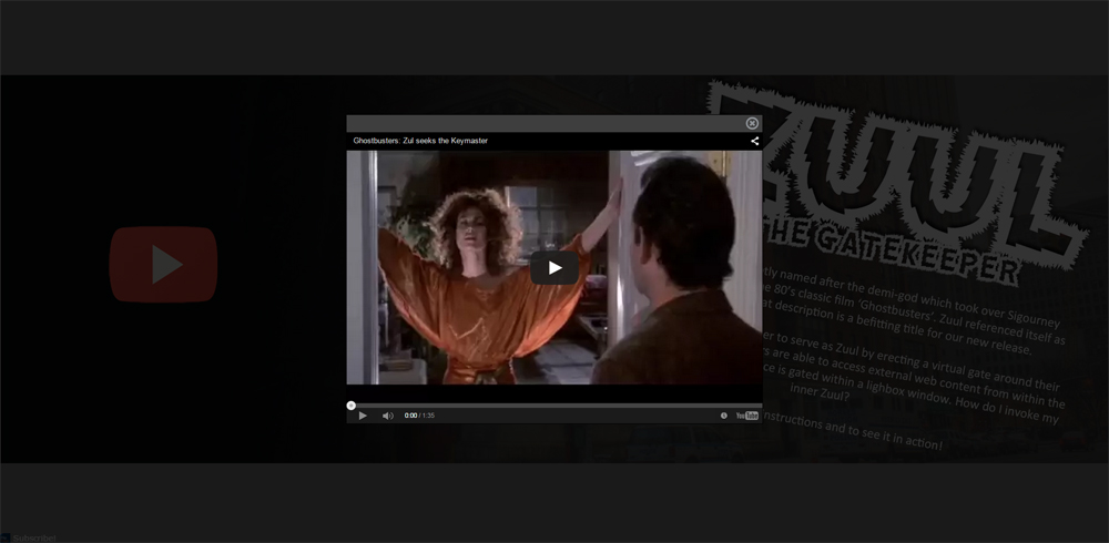 A screen capture depicts a video within our newsletter Flip-it! using the Zuul lightbox.