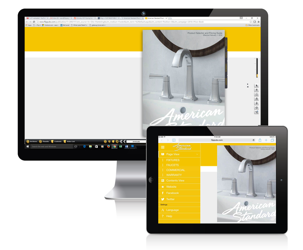 Whether on desktop or tablet, the American Standard brand and colour scheme is displayed prominently.