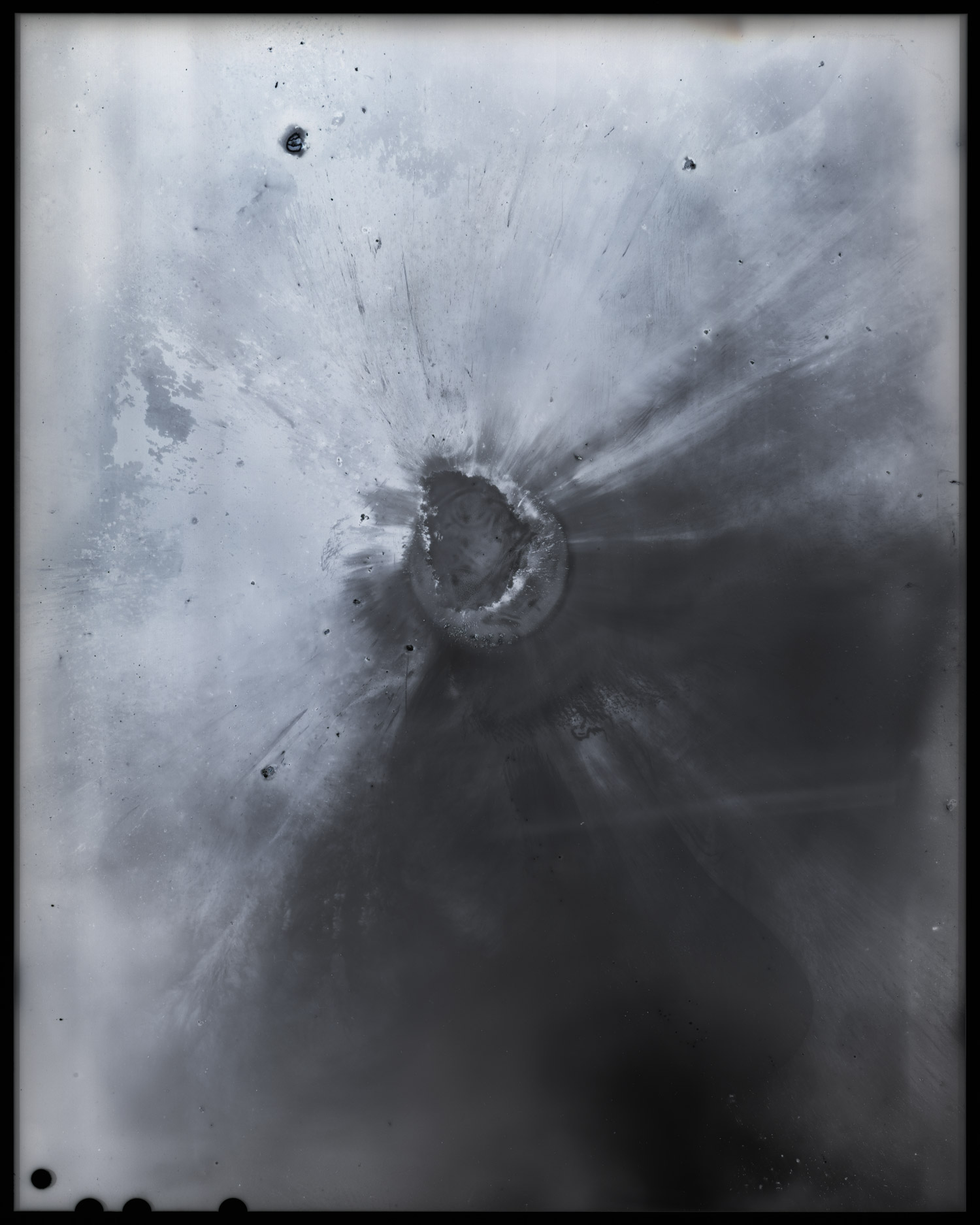 """Memories of Unrememberable Past   (2014) is a series of camera-less photographs that captures the release of energy in various forms. They are the traces of light and heat, and the evidence of its destructive power.   Memories of Unrememberable Past #1 - 5 (2014), archival pigment print, 55"""" x 44"""" each"""