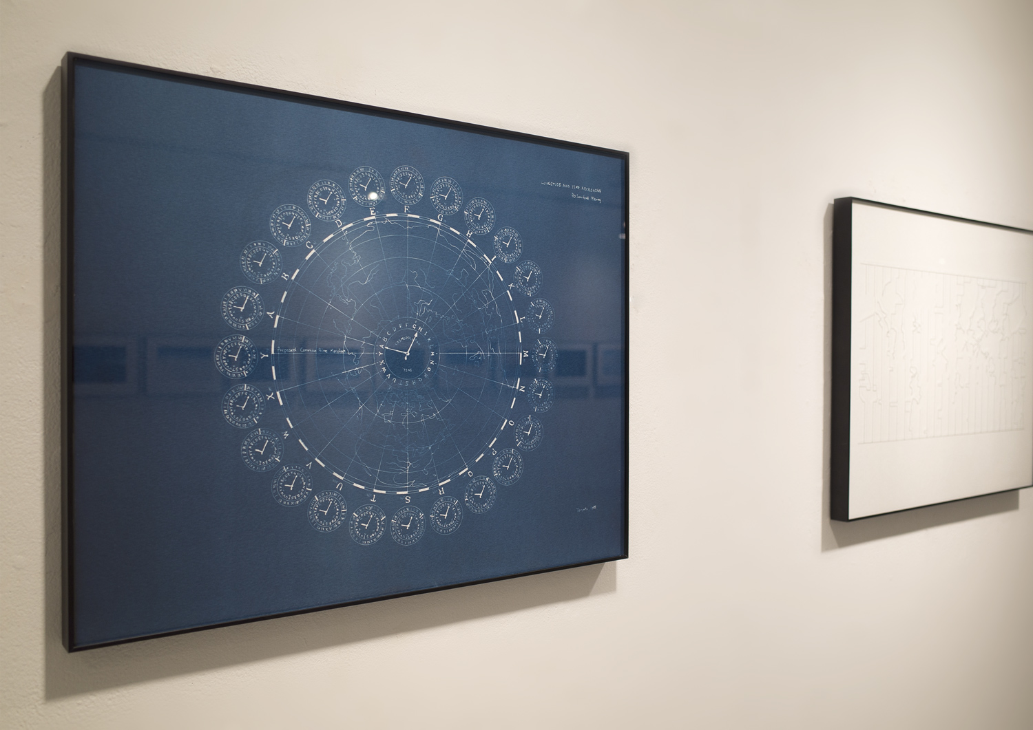 """Weltanschauung   (2013-ongoing), Ono photographs a sky-scape at the locations where the time-zone changes. The captured image contains two different times within a single exposure. The concept of time-zone was first introduced in 1879, with a division of straight lines every 15 degrees. However today, the countries are free to claim their own time-zone, and it has become a manifestation of the territorial situations of the ground. The neighboring countries such as India and Pakistan sees 30-minutes time difference between each other - to show a difference.   Cyanotype, silkscreen on glass and white paper, 16"""" x 20"""" each"""