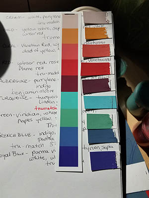 Paint mixing notes, and printer swatches to match.