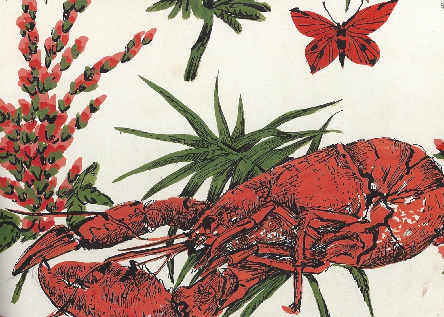 In 1953 John Tullis asked Pat Albeck to produce a fabric with a large scale lobster for a beach skirt. She felt it did not work on it's own, so added flowers and butterflies.