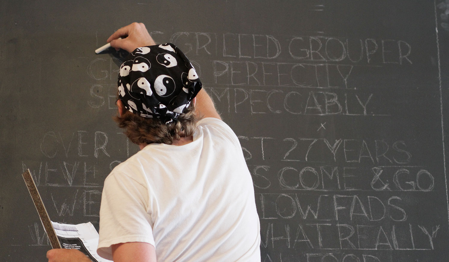 A little bit of chalkboard copy for the Thomas Preti pop-up.