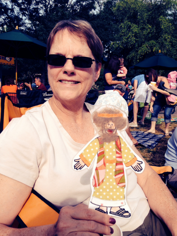 Flat Jesus enjoying Boogie Night at the Zoo with Kathy.