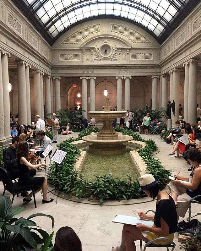 07.15.2016  Summer Night at The Frick Collection  Visitors sketching in the garden court, a beautiful violin duet playing in the background.