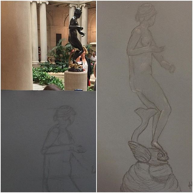 07.15.2016  Summer Night at The Frick Collection  This was a very complex piece I chose to sketch. Foreshadowing and hands have always been a challenge for me, but I felt compelled to do my best and finish the piece. I am very happy with the outcome, it was a great experience to sketch in the garden court.