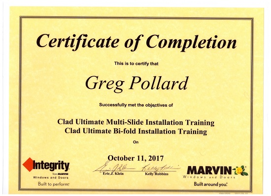 Over 45 years of experience - Certified by Marvin, ProVia, Simonton, VinylMax, and the States of California and Ohio.