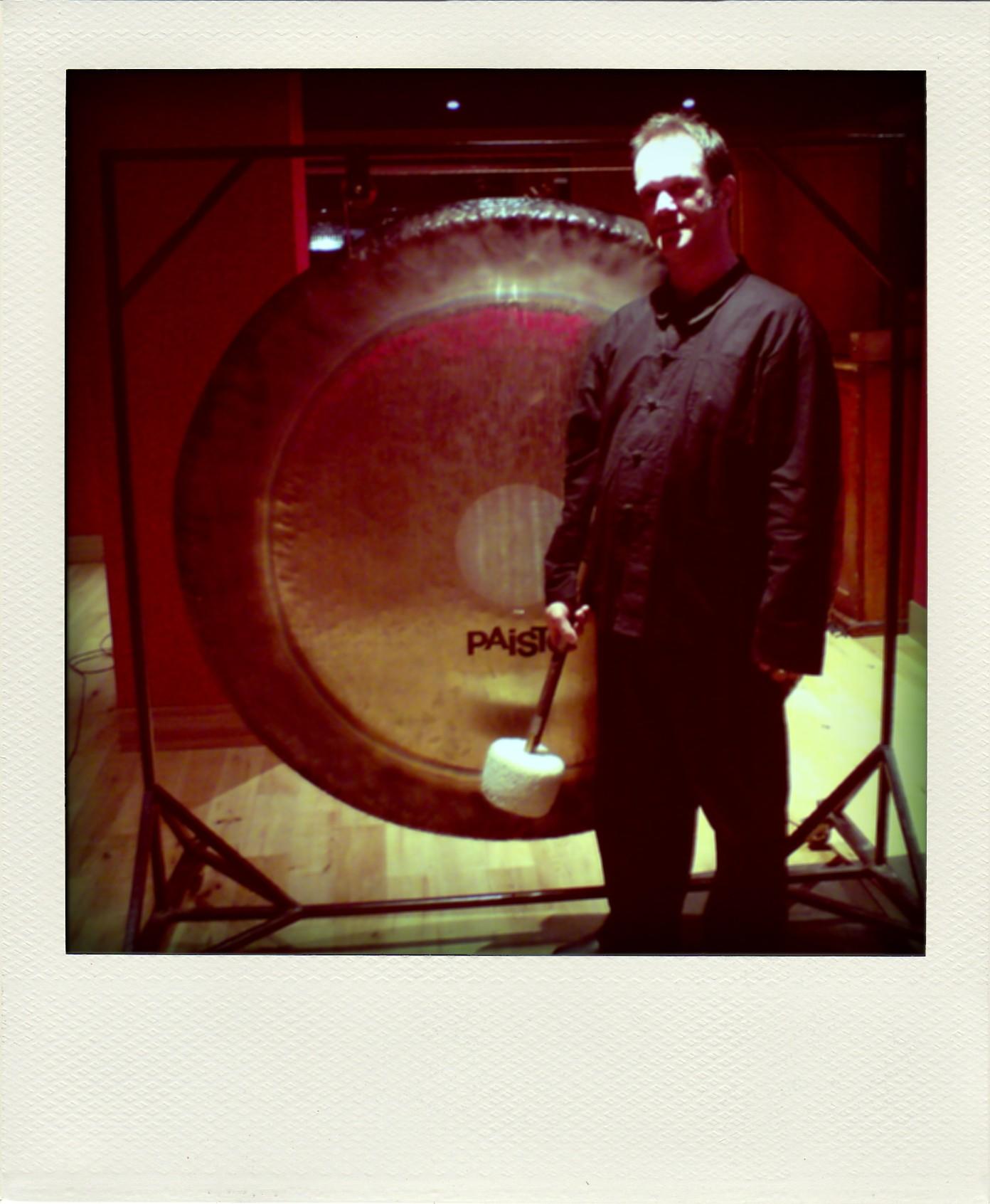 Playing tam tam for Gorillaz BBC Beijing Olympics TV idents. Damon Albarn's studio, West London, 2008