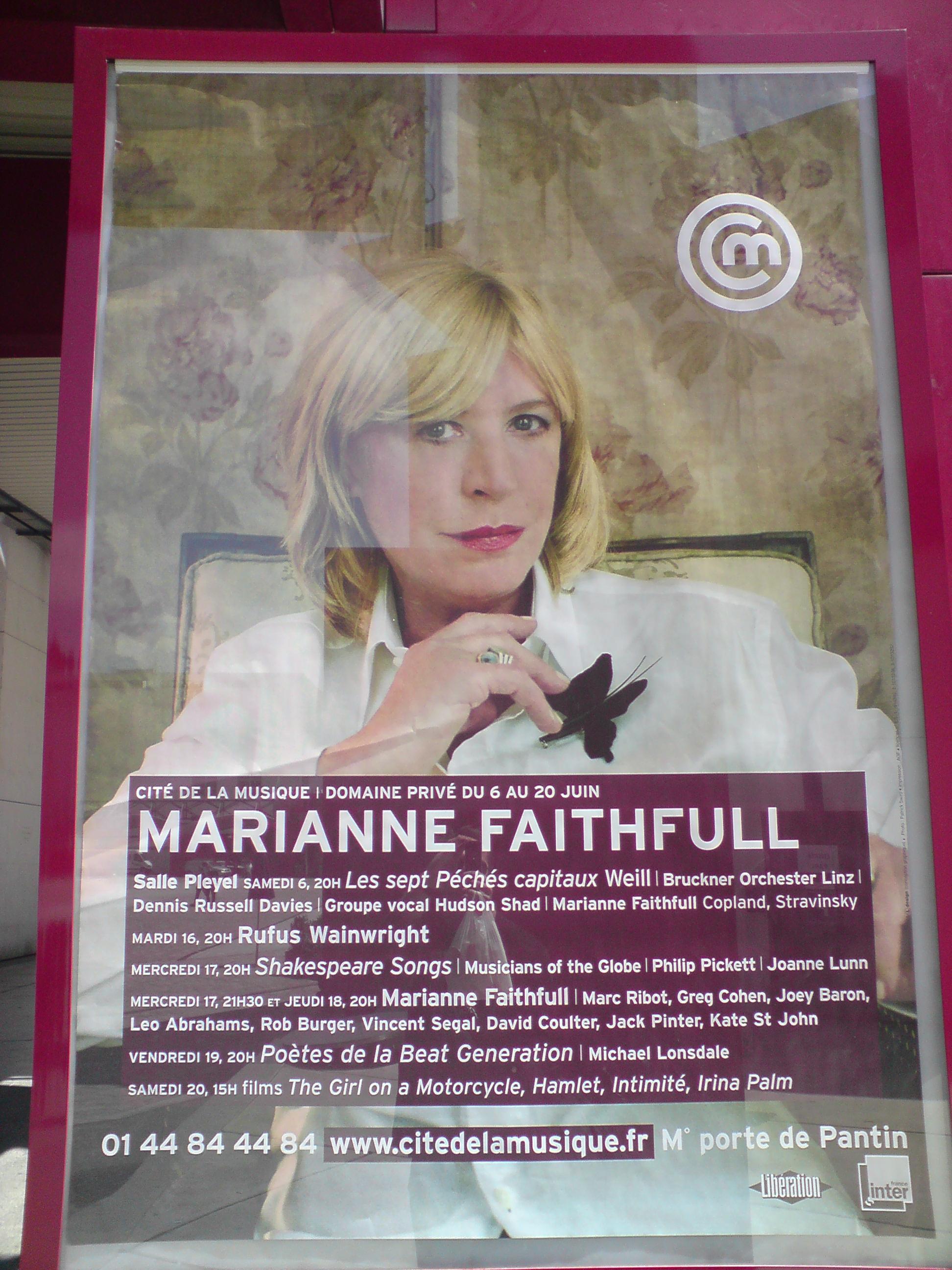 Poster for Marianne Faithfull Big Band gig, Cite de la Musique, Paris 2009