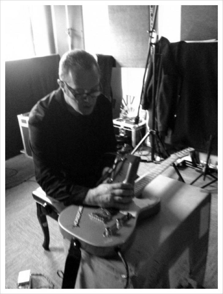 Recording prepared guitars for Polly Scattergood album. Mute Studios, London. 2012