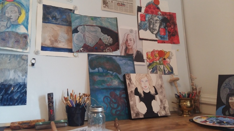 painting table in Susanne's studio
