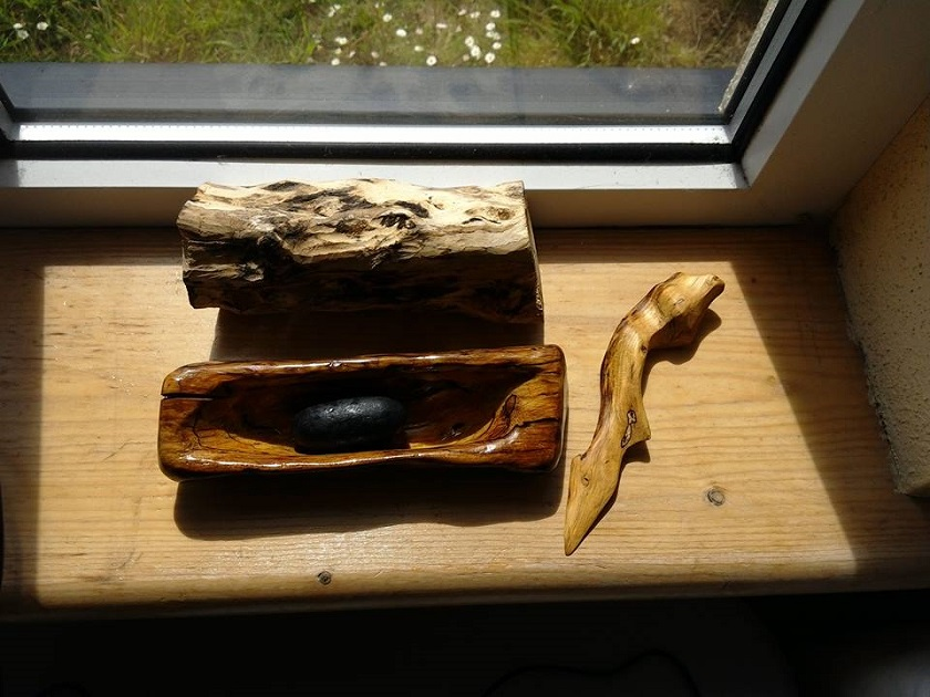 Handcarved Gorse and a Lingam Stone