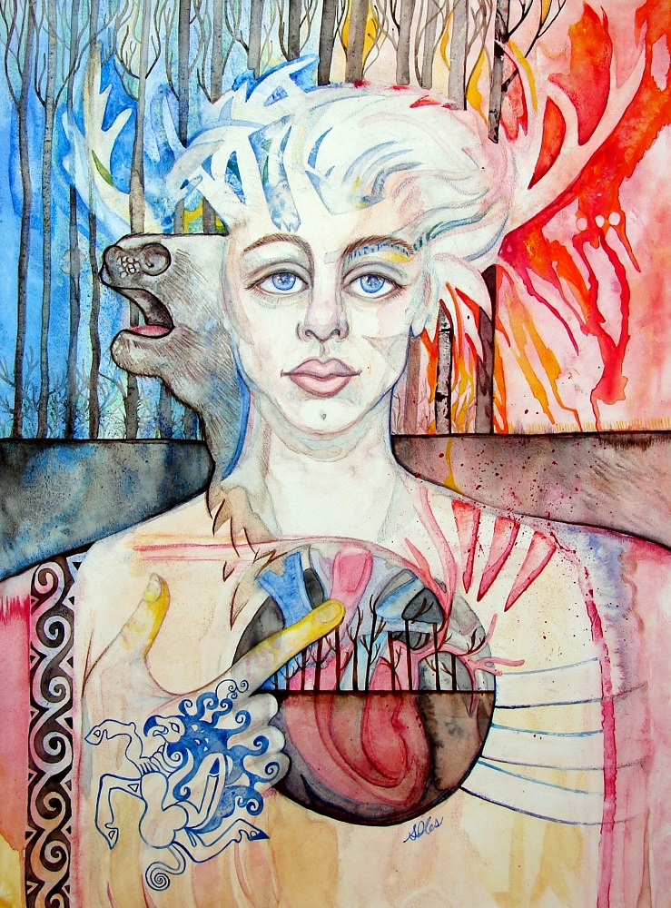 Sacred Hart: original painting , ink, watercolour and acrylic on illustration board