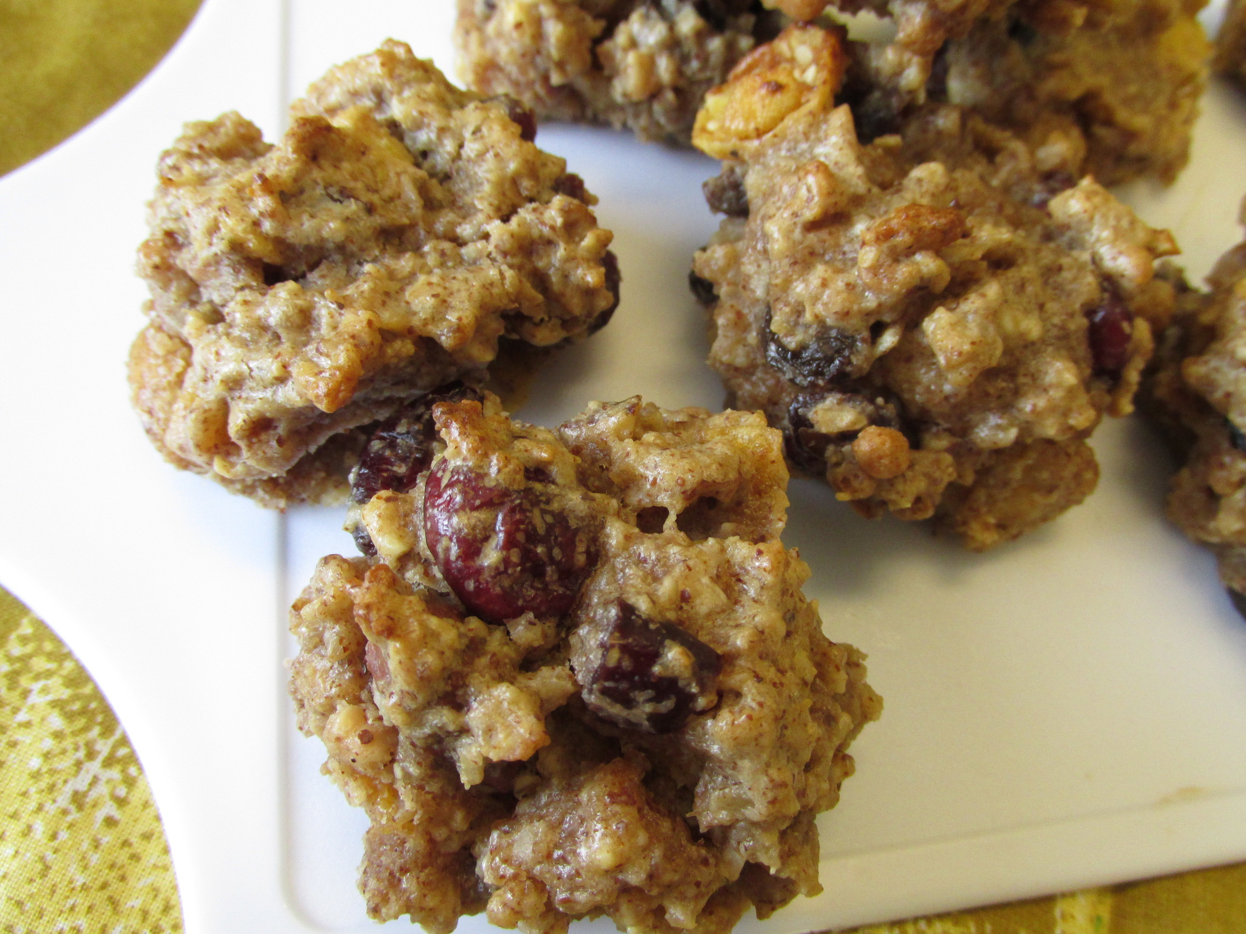 Early Bird Cookies, made with unsweetened applesauce, oats, granola, dried fruit and favorite nut butter