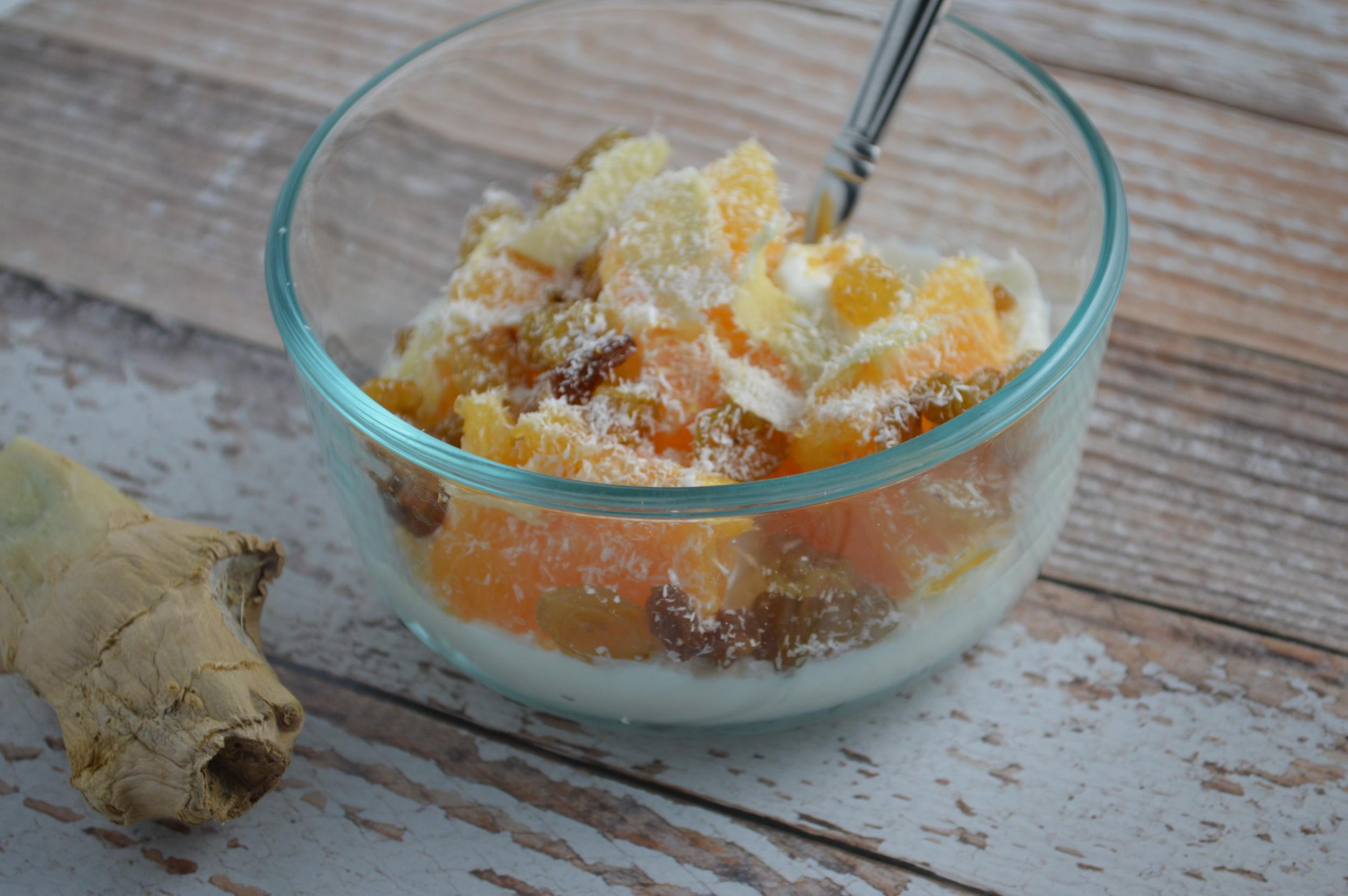 Orange Ginger Yogurt Bowl layered with Siggi's Orange & Ginger Yogurt