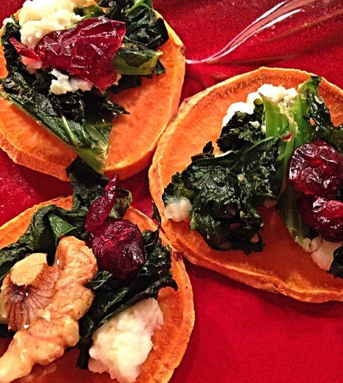 Kale-Topped Sweet Potato Rounds