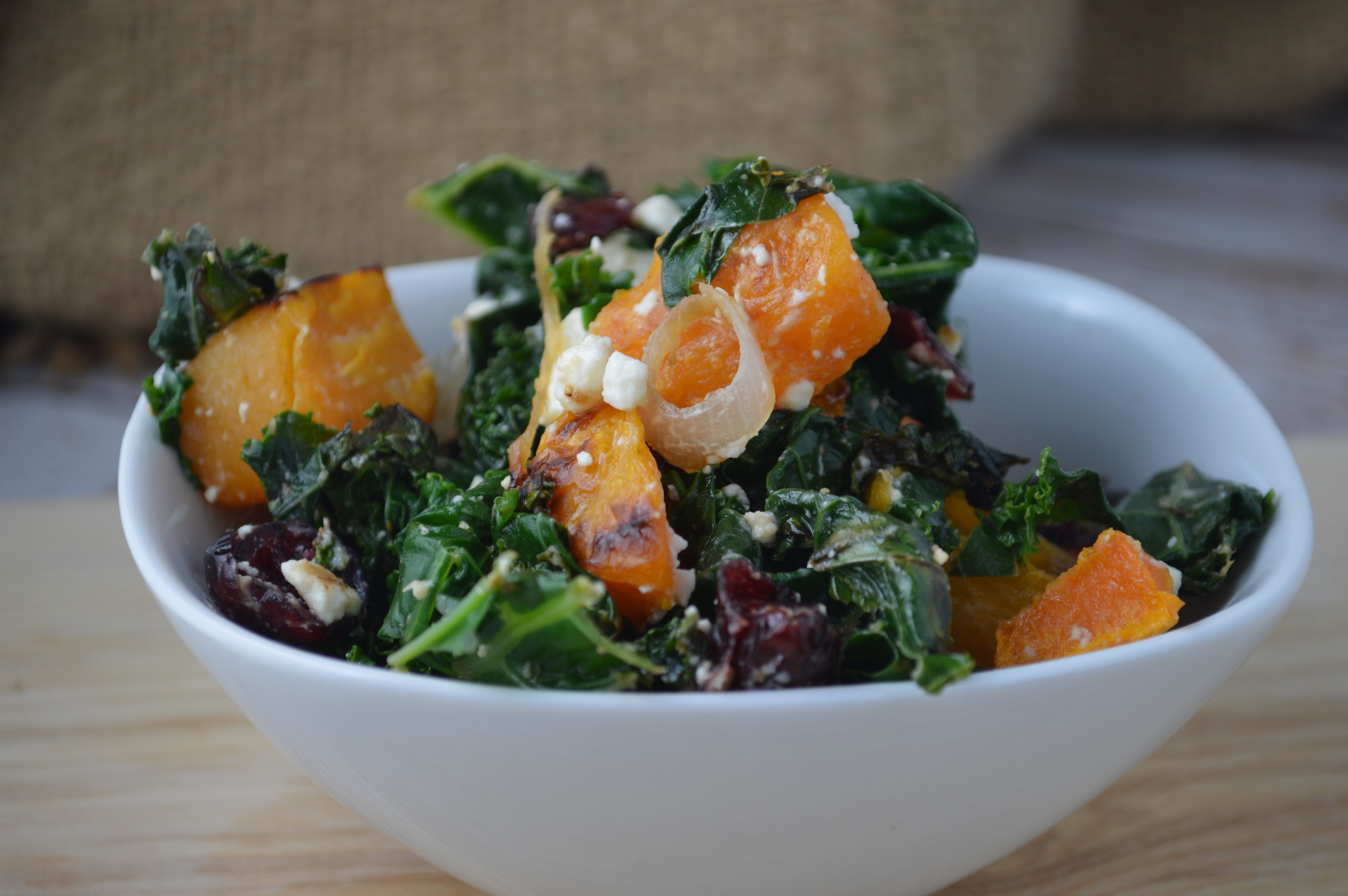 Kale, Squash and Goat Cheese Salad