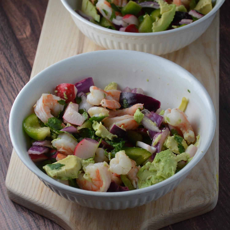 Shrimp & Avocado Salad with raw radish