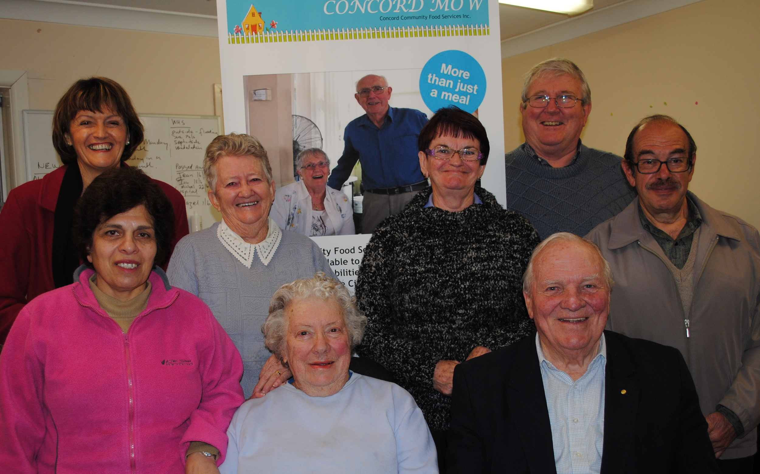 Volunteers from bottom left to right - Nella, Ruth, Alan.  Volunteers from top left to right - Dianne, Barbara, Judy, Jim and Fred.