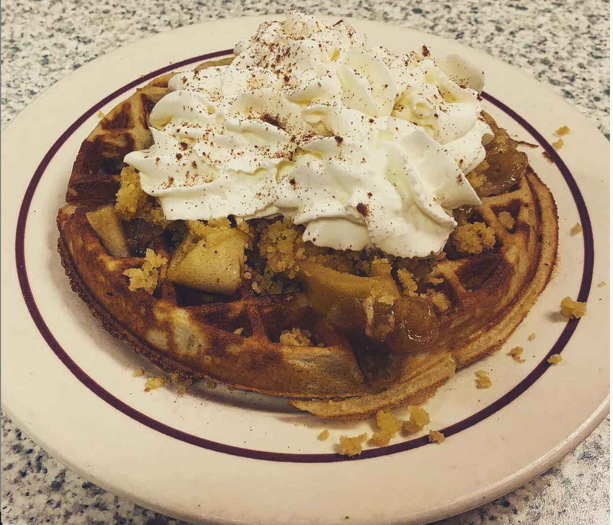 Apple Crisp Waffle - Waffle with sugar crumble, apple compote, whipped cream and a cinnamon sugar dusting