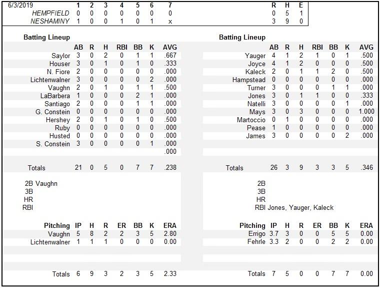 Image result for 2019 baseball box score