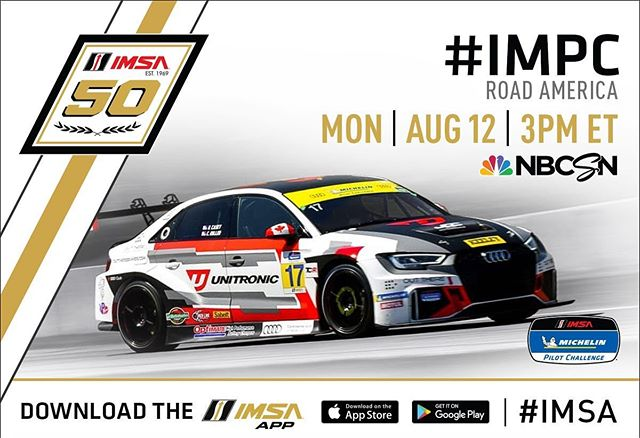 Don't miss the @IMSA @MichelinRaceUSA Pilot Challenge Road America 120 from @RoadAmerica broadcast today Aug, 12 at 3pm ET on @NBCSN! #IMSA / #IMPC @unitronic @autobahncc @jdcmotorsports @audisport @continentalaudi