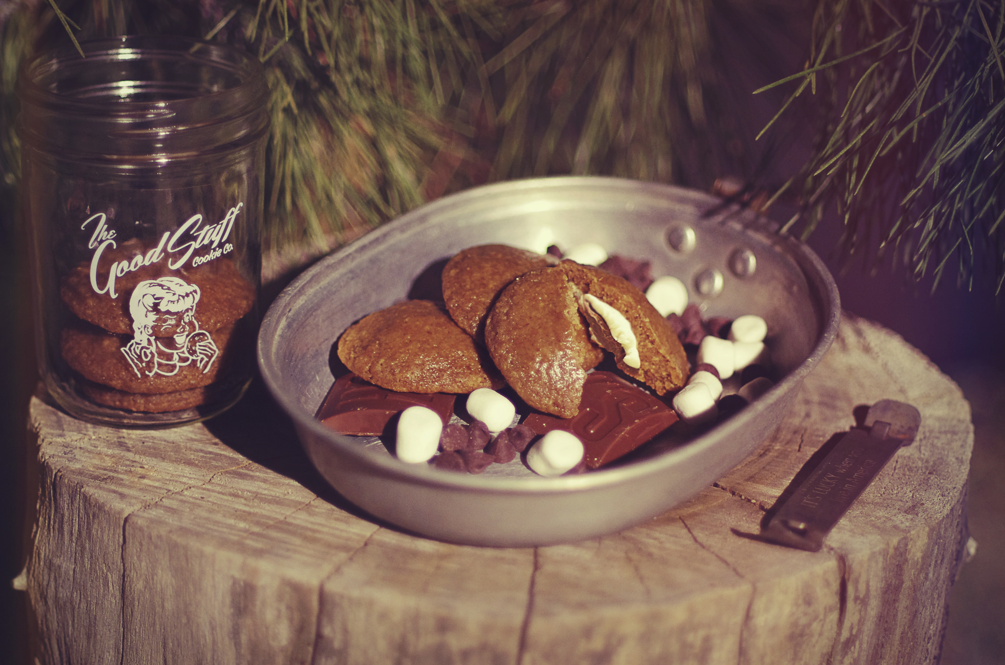This one was fun to shoot, well besides getting bit by mosquitoes. That sucked, but what doesn't suck are these S'more cookies. Marshmallow and chocolate are stuffed into soft chewy graham cracker cookie. Biting into one of these will remind you of sitting around a campfire and making your favorite snack. Even better, it comes without the mess!