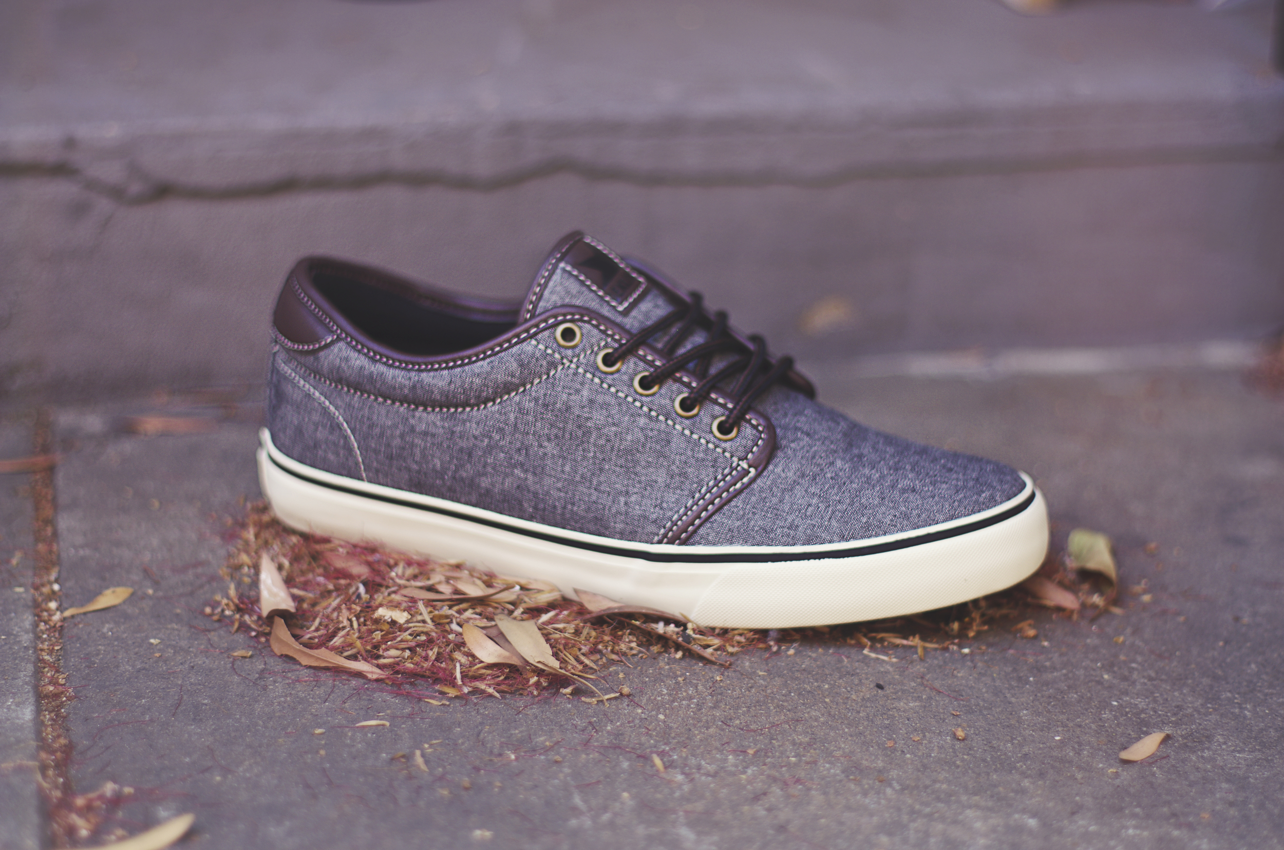 Santa Fe - $60 (Grey/White/Espresso) This shoe comes in a grey chambray upper with white vulc sole,   3M reflective heal,metal eyelets and work boot laces.
