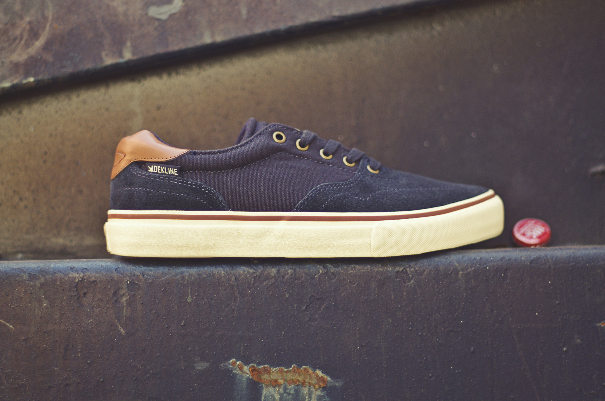 Wayland - $65 (Navy/Antique White/Gingerbread) his shoe comes in a navy canvas and suede upper with antique white vulc sole, metal eyelets and standard navy laces.