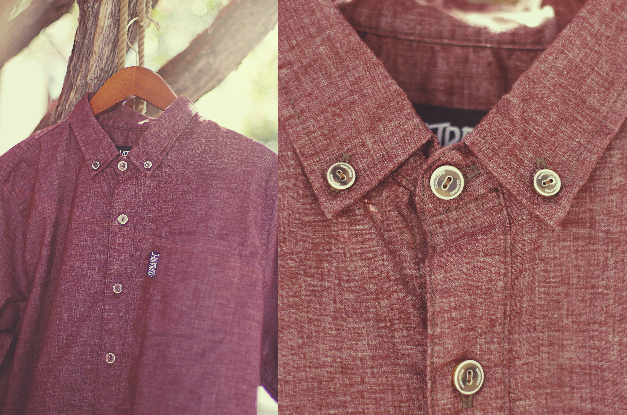 """The """"Pine Creek"""" button up in Merlot ($65) is a 5.3oz blend of organic cotton, recycled poly and spandex. This makes this garment very durable and breathable."""
