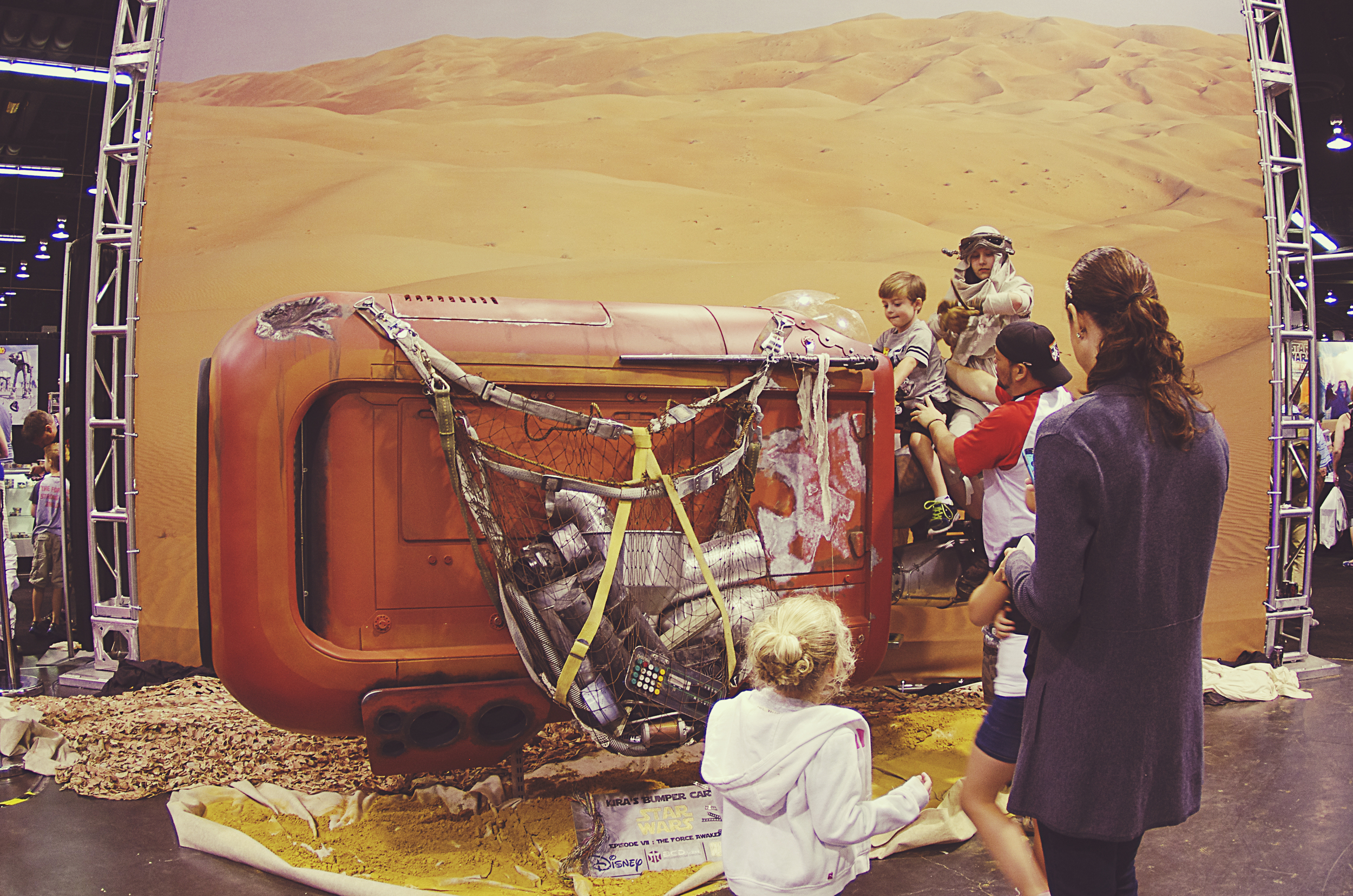 Checking out Rey's Dove chocolate bar speeder.