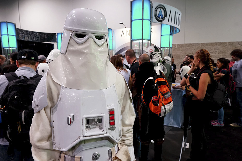 Dressing for the weather on Hoth, but stuck in the convention heat.
