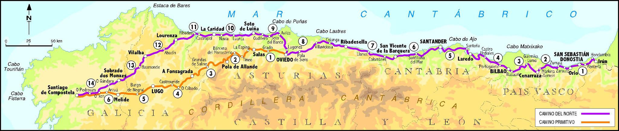 The Northern Saint James Way (purple line)!