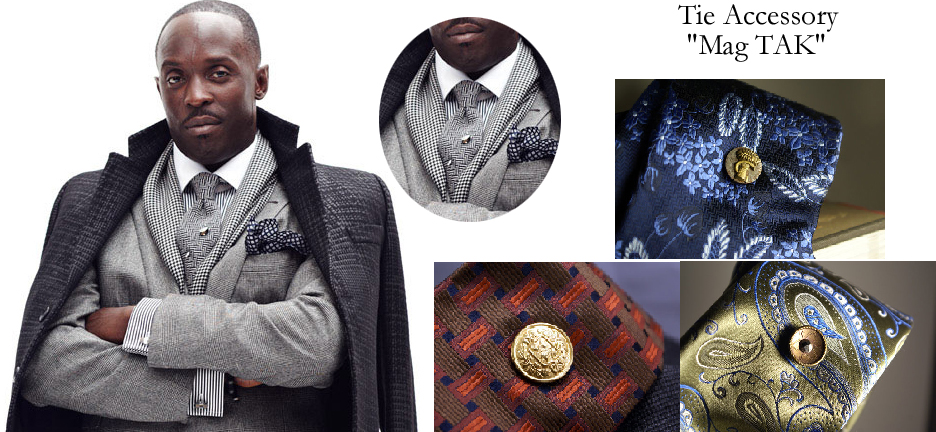 LOVE the polished, buttoned up look here. Pocket square, scarf, cufflinks, the whole nine yards. The Mag TAK is a great substitute for the stick tie pin shown here. Don't poke holes in your beautiful silk ties.