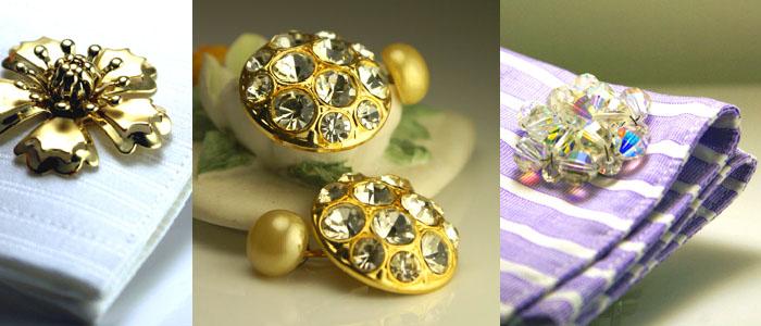 Metallic flowers, rhinestones and gold & Iridescent wired crystals: Cufflinks for ladies