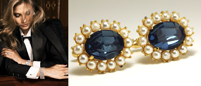 Classic elegance in sapphires and pearls: cufflinks fore ladies
