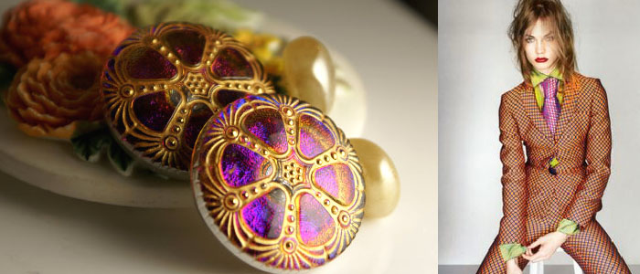 Cufflinks featured are Czech glass with antique blown glass pearl button backs.